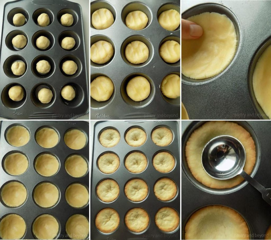 Dividing the dough into cupcake pan. Pressing the ball onto bottom and sides to give a cup shape. Pressing to the center of the puffed cookie cups with back of a spoon.