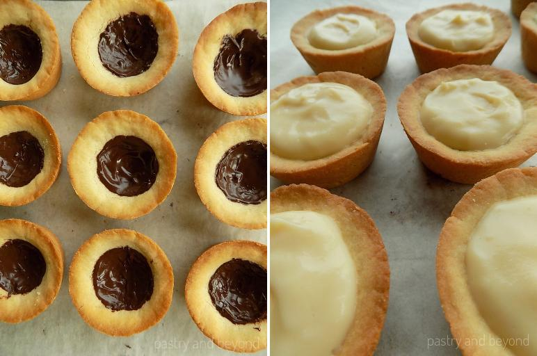 Covering the bottom of the cookie cups with chocolate, adding pastry cream on top.