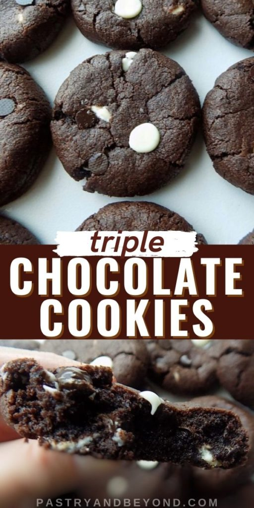 Triple chocolate chip cookies on a white surface and half of the cookie to show inside with text overlay.