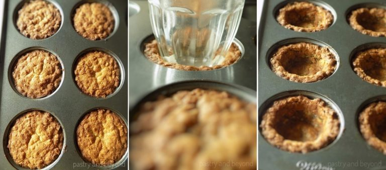 Pressing the center of the puffed cookie cups with a small glass to give their cup shape again.
