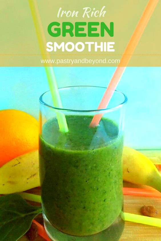 Green smoothie with text overlay.