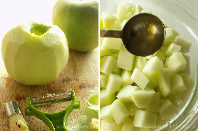 Peeled, cored and sliced apples tossed with lemon juice.