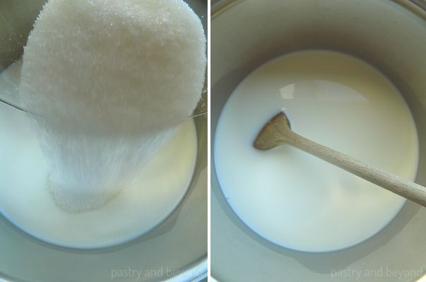 Collage of adding sugar over the milk  and stirring the mixture with a wooden spoon.
