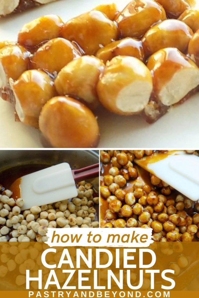 Candied hazelnuts with text overlay.