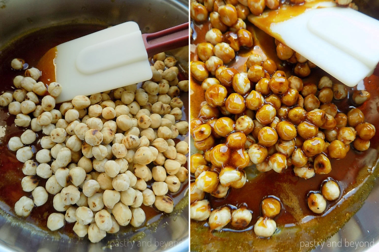 Collage of adding the hazelnuts into the caramelized sugar and mixing with a heat proof spatula.