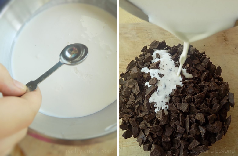 Adding peppermint extract into the heavy cream, pouring scalded heavy cream over chopped chocolate