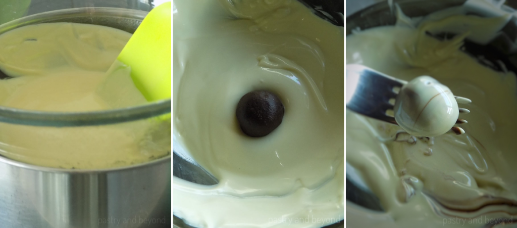 Melting chocolate over bain marie, dipping balls into melted white chocolate.