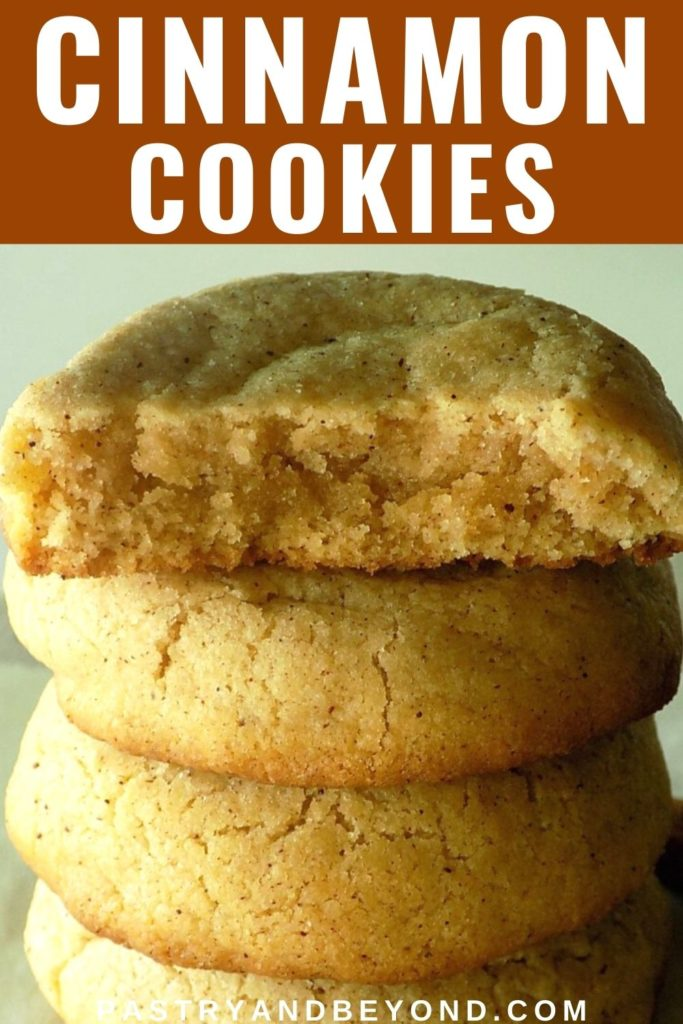 Stacked cinnamon cookies with text overlay
