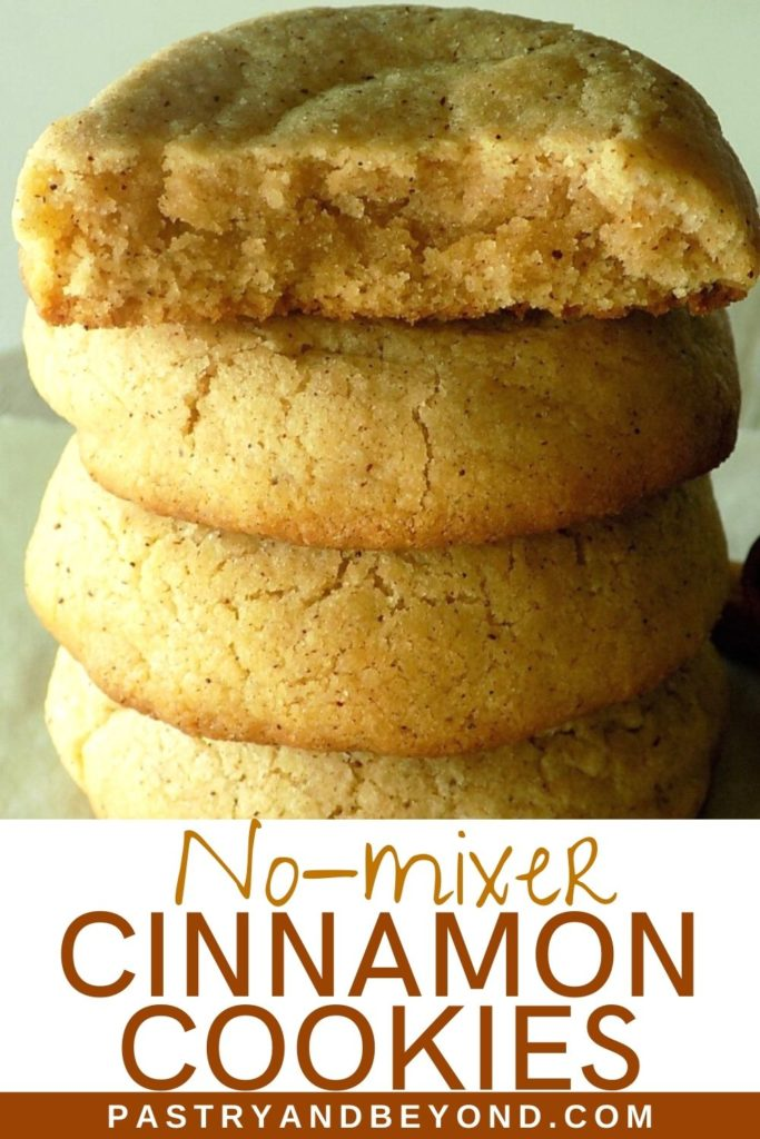 Stacked cinnamon cookies with text overlay.