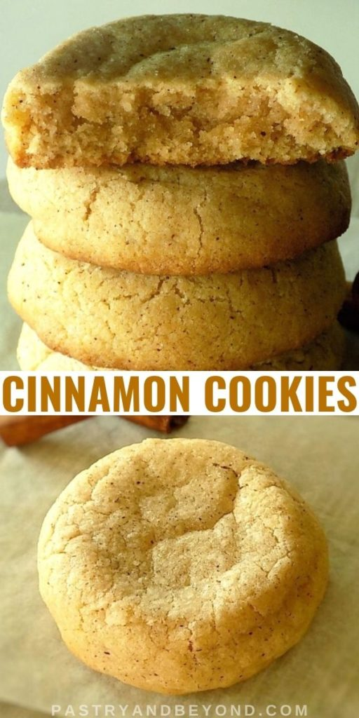 Stacked soft cinnamon cookies.