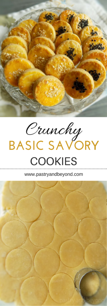 Crunchy Basic Savory Cookies-This savory cookie recipe is crunchy and delicious.  You'll get so many compliments when your guests taste these yummy cookies! #savory #savorycookies #crunchycookies Recipe on pastryandbeyond.com with step by step pictures.