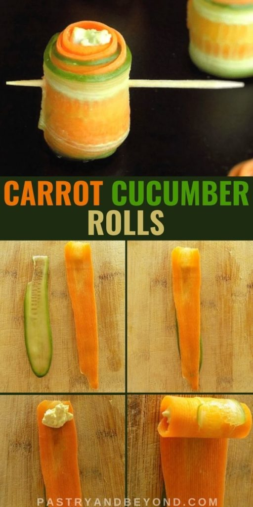 Carrot cucumber rolls and steps of making them with text overlay.