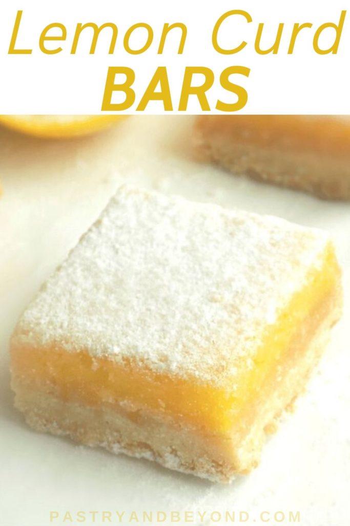 Lemon bars on a white surface.