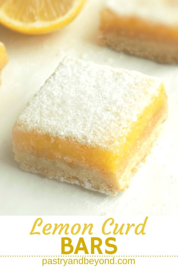 Lemon curd bars on a white surface with text overlay.