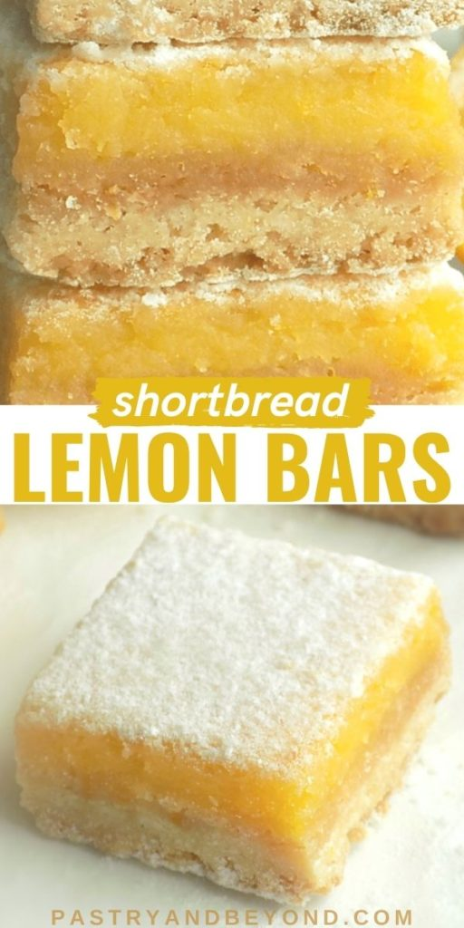 Lemon bars with text overlay.
