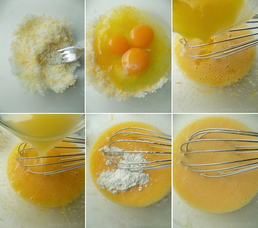 Mixing lemon zest and sugar with a fork, adding the eggs, melted butter, lemon juice and mixing. Adding in the flour and mixing.