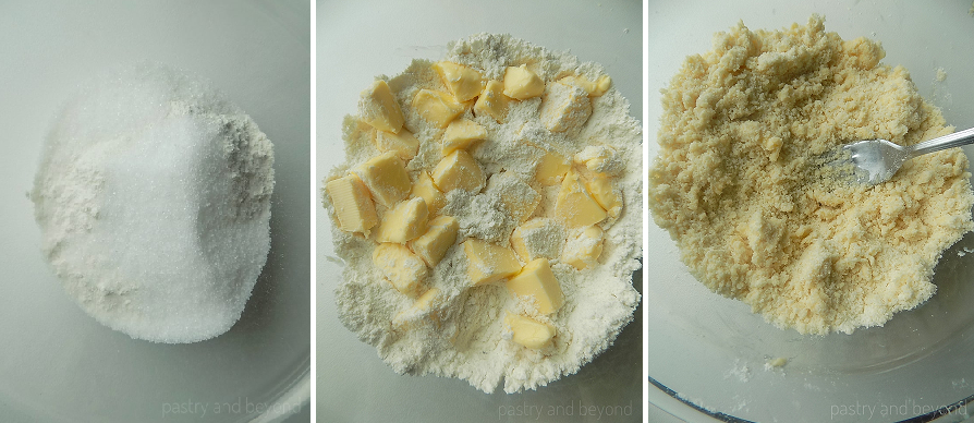 Collage of mixing flour with sugar and cutting butter into the flour mixture with a fork.
