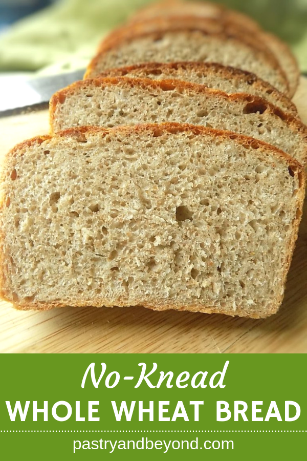No-Knead whole wheat bread on a wooden surface.
