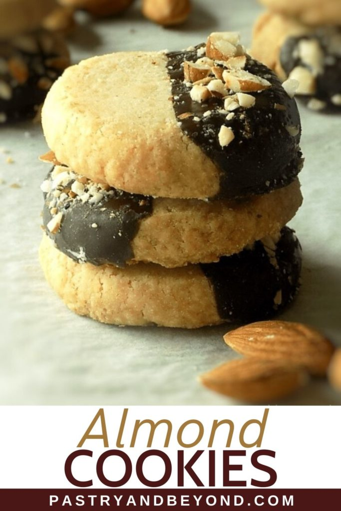 Stacked almond shortbread cookies