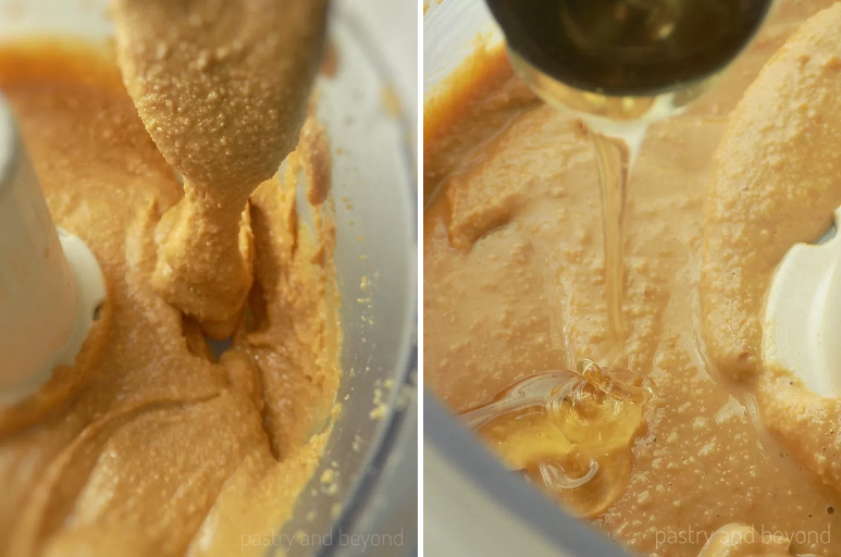 Adding the honey into the peanut butter in food processor.