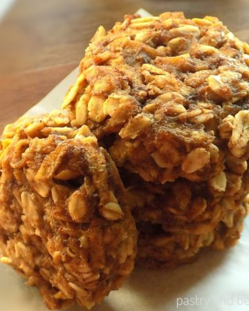 Stacked apple oatmeal cookies.
