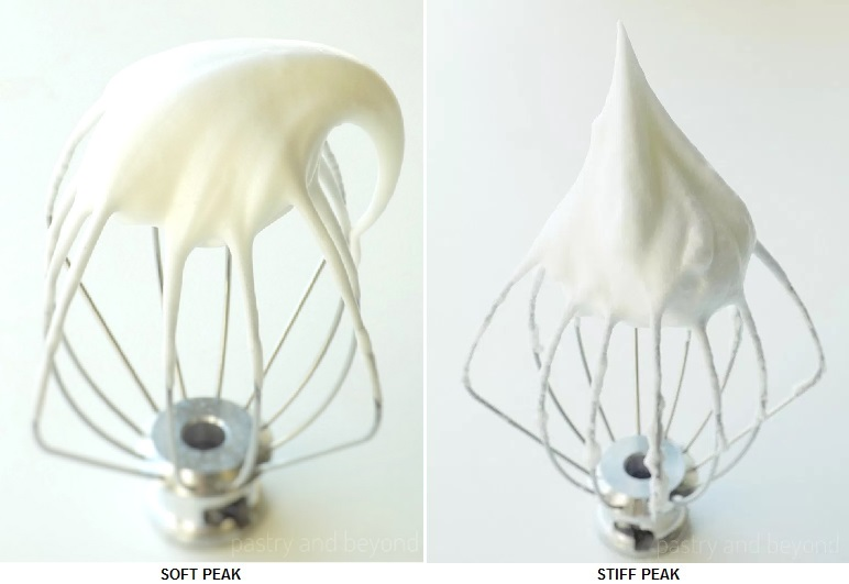 Consistency of Meringue: Soft Peak on a whisk and Stiff Peak on a whisk