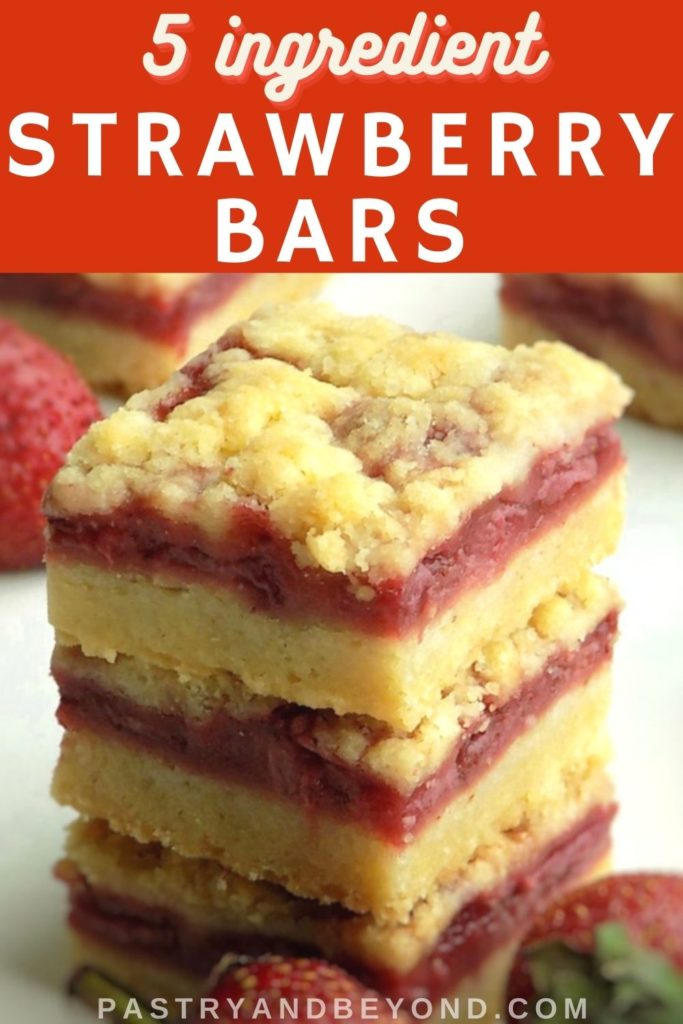 Stacked strawberry crumble bars with text overlay.