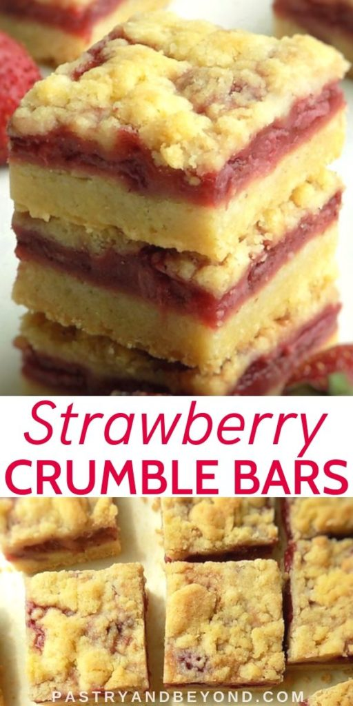 Stacked and overhead view of Strawberry Crumble Bars