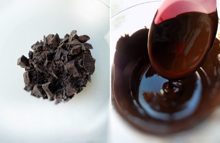 How To Make Frozen Banana Bites: Melting the chocolate over bain marie.
