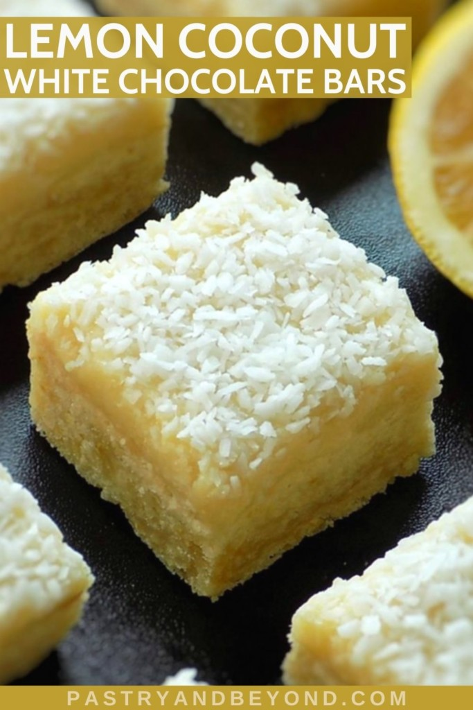 Lemon coconut bars with white chocolate ganache on a black surface with text overlay.