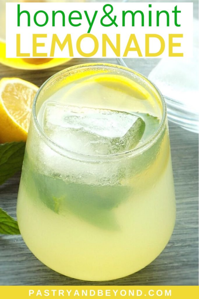 Lemonade in a glass with ice cubes