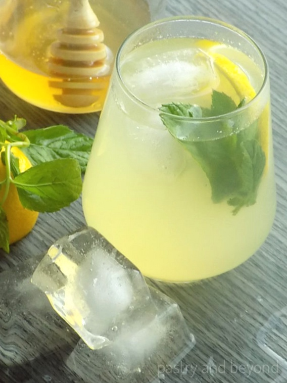 Single serve lemonade with mint.