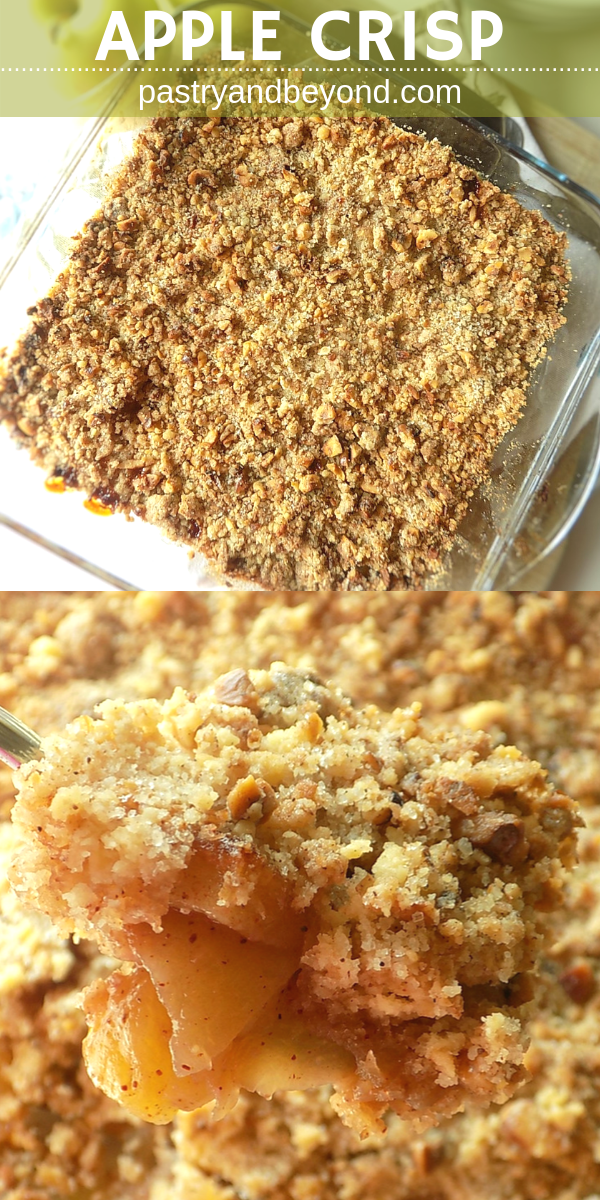 Collage of overhead view of apple crumble and spooned apple crumble with text overlay.