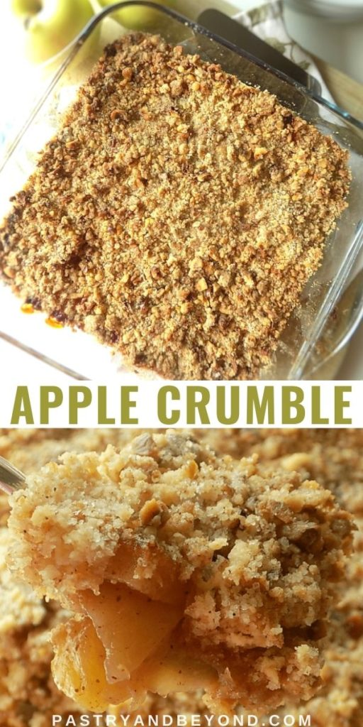 Overhead view of apple crumble and a view for this fruit crumble on a spoon.