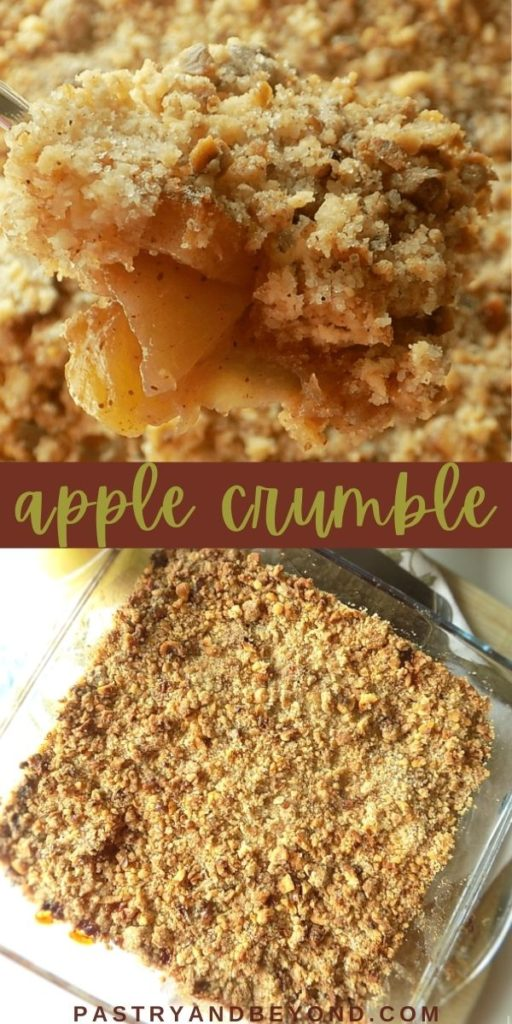 Pin for overhead view of apple crumble and an image showing the dessert on a spoon.