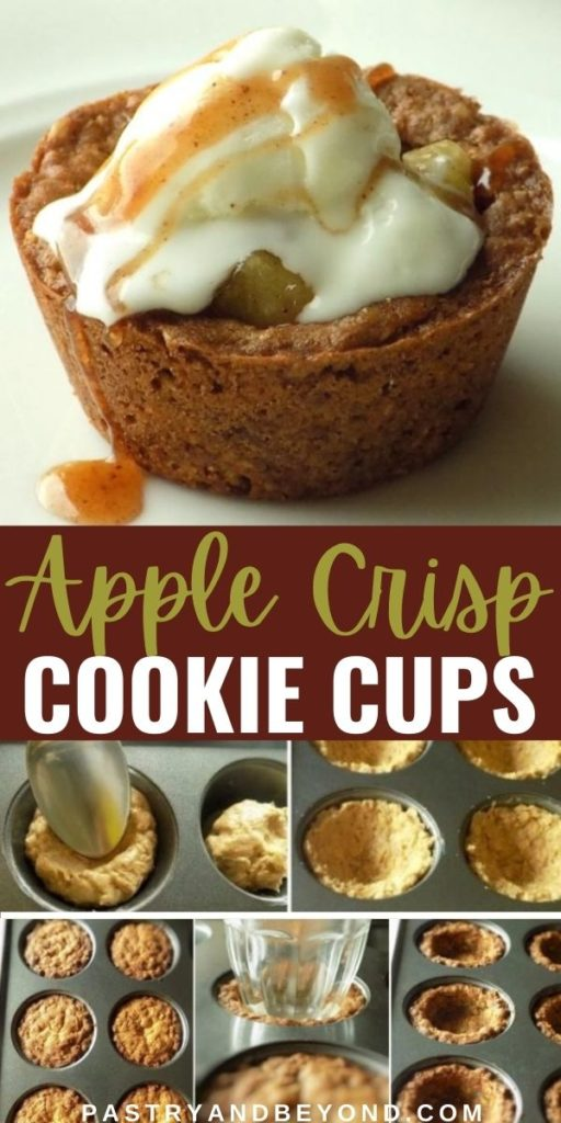 Apple crisp cookie cups with text overlay.