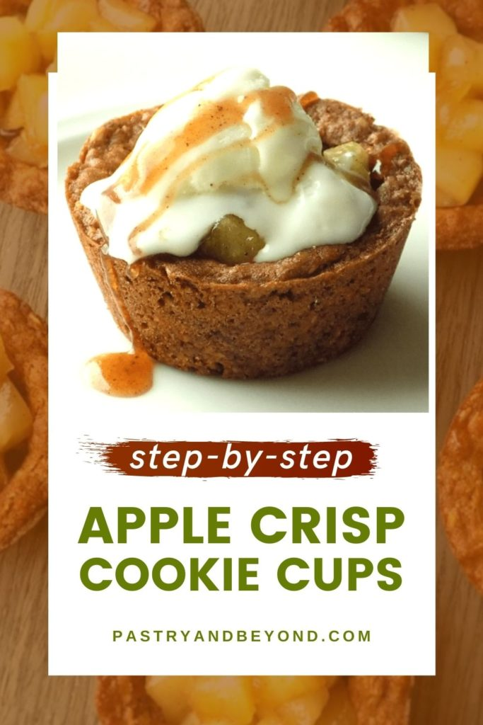 Apple crisp cookie cup with text overlay.