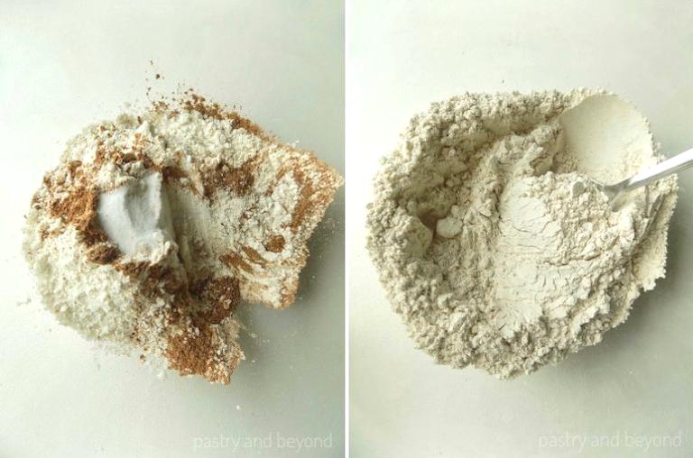 Mixing flour, cinnamon, baking soda, cornstarch in a bowl.