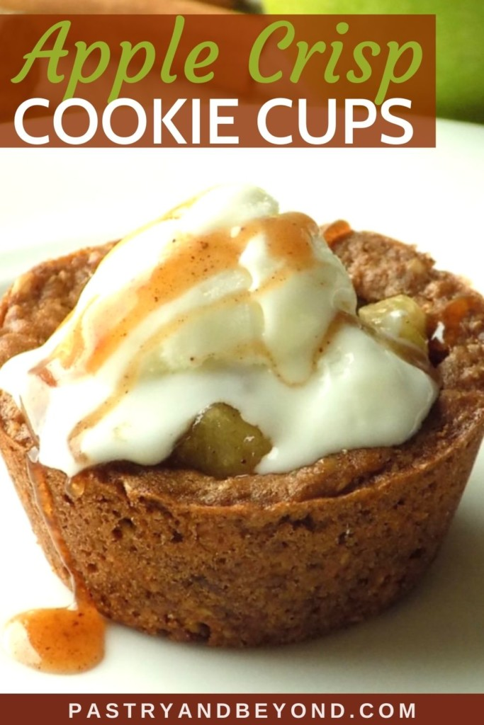 Apple crisp cookie cup with ice cream on top.