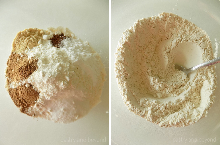 Step by Step Pictures: Flour, ginger, cinnamon, cloves, baking soda and baking powder in a medium bowl. The ingredients are mixed with a spoon.