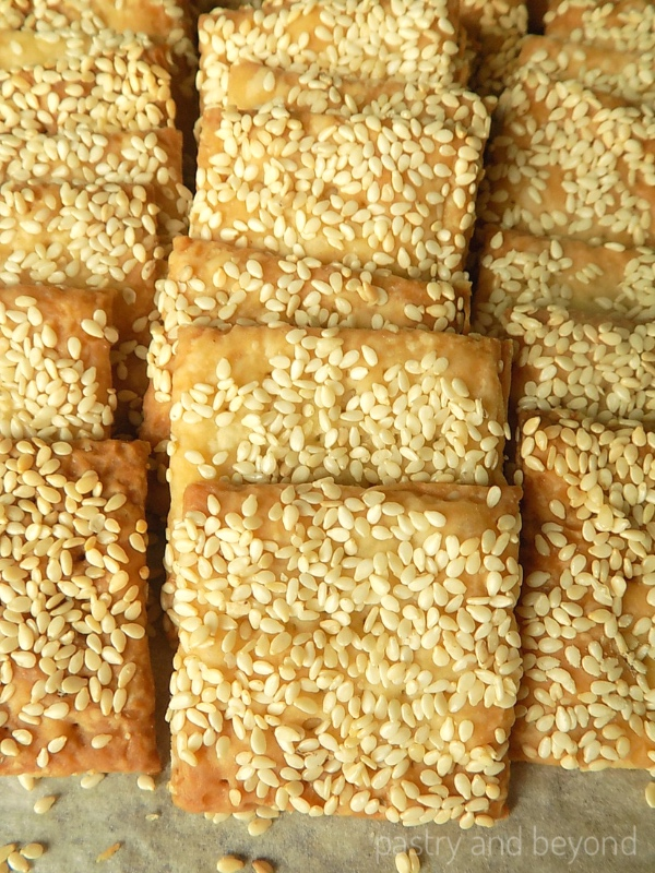 Sesame Crackers in a row.