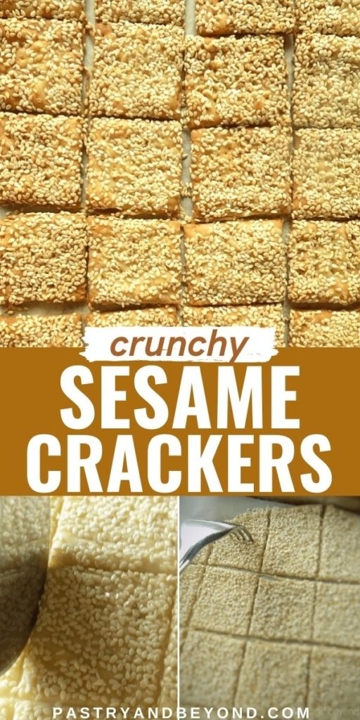 Sesame crackers and steps with text overlay.