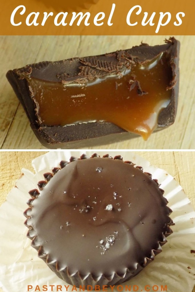 Collage of caramel cups with text overlay.