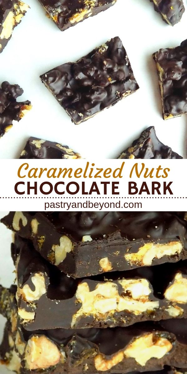Collage of overhead and side view of chocolate candy bark.