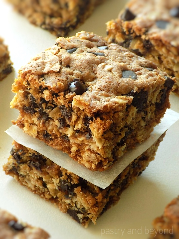 Stacked oatmeal chocolate chip bars.