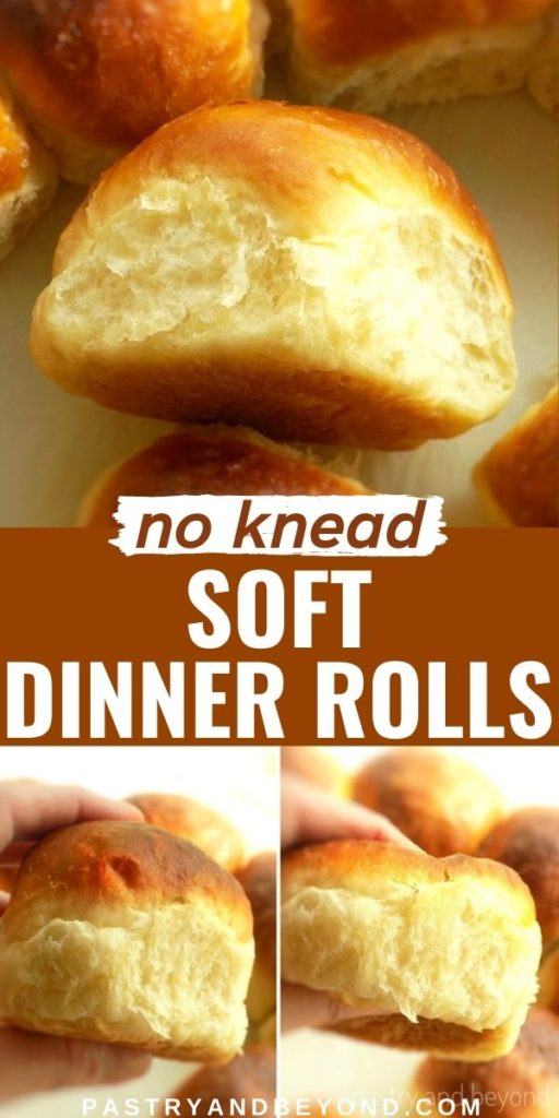 Soft dinner rolls with text overlay.