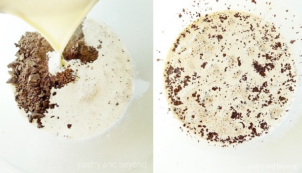 Pouring the heavy cream over chopped chocolate.