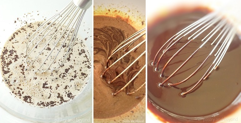 Mixing the heavy cream and chocolate with a whisk.