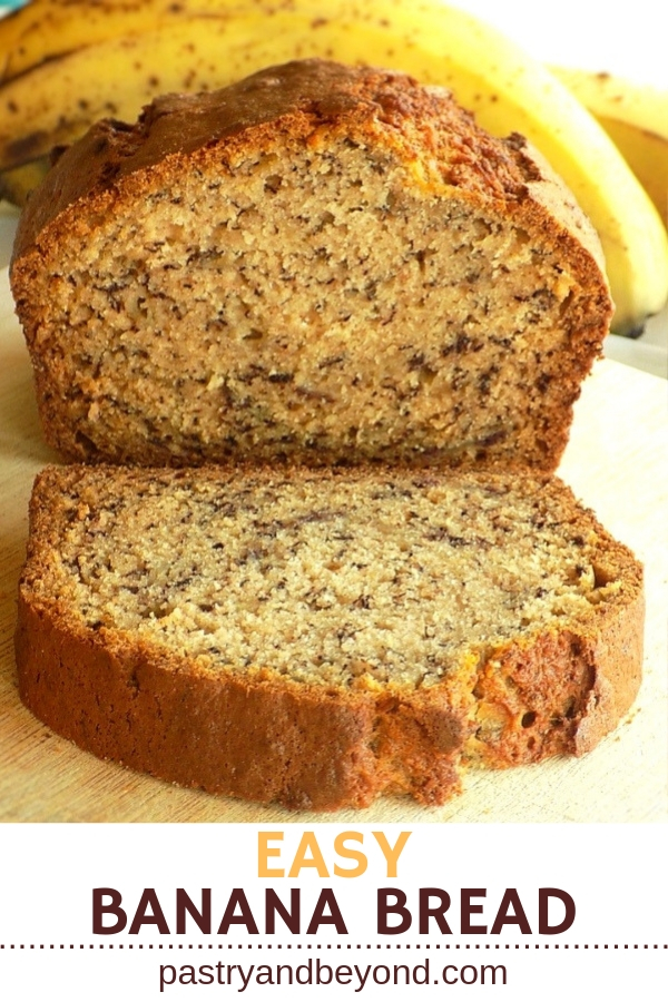 Banana bread on a wooden surface.