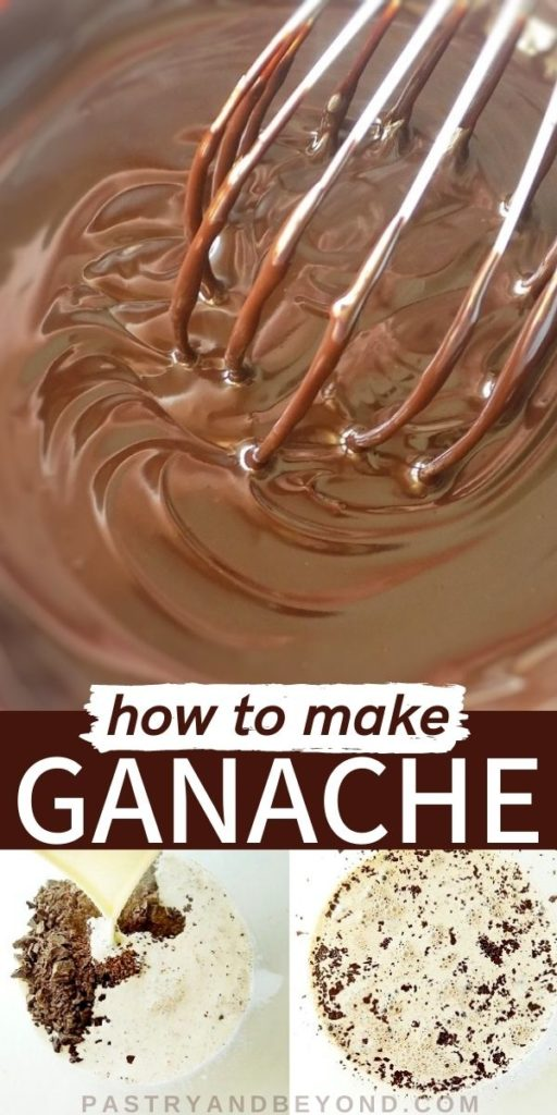 Stirring chocolate ganache with a whisk and showing steps with text overlay.
